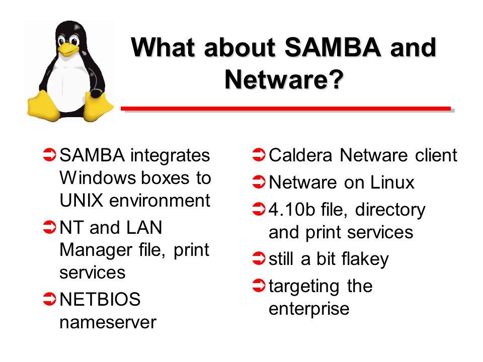 What about SAMBA and Netware? SAMBA integrates Windows boxes to UNIX environment NT and LAN Manager file, print services NETBIOS nameserver Caldera Ne