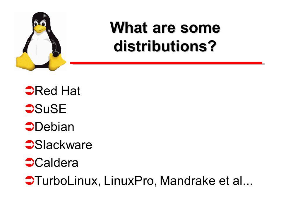 What are some distributions? Red Hat SuSE Debian Slackware Caldera TurboLinux, LinuxPro, Mandrake et al...