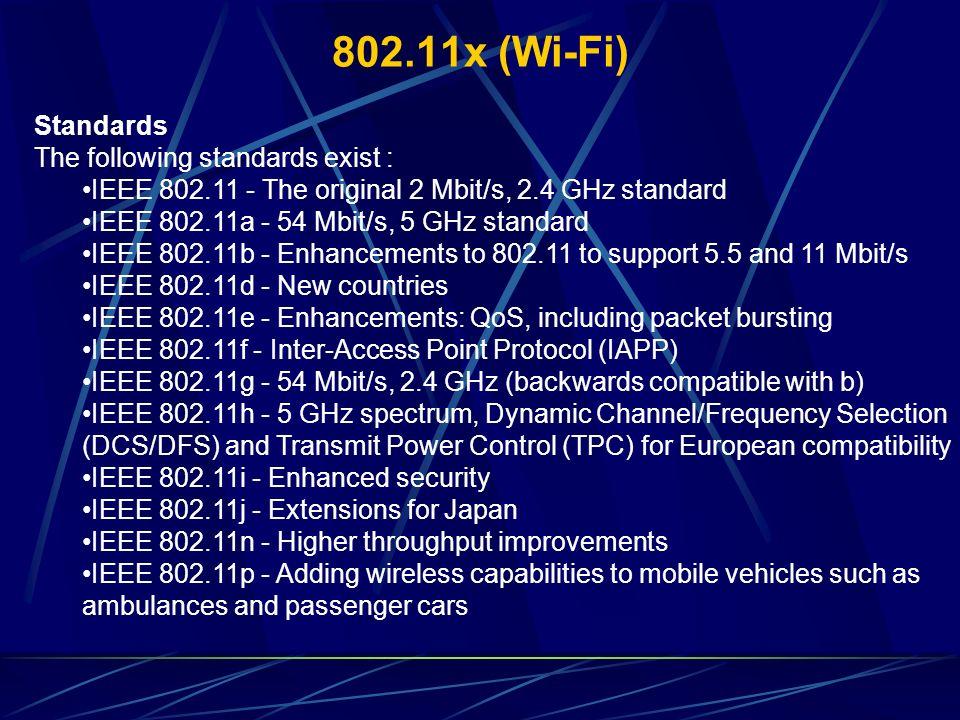 802.11x (Wi-Fi) Standards The following standards exist : IEEE 802.11 - The original 2 Mbit/s, 2.4 GHz standard IEEE 802.11a - 54 Mbit/s, 5 GHz standa