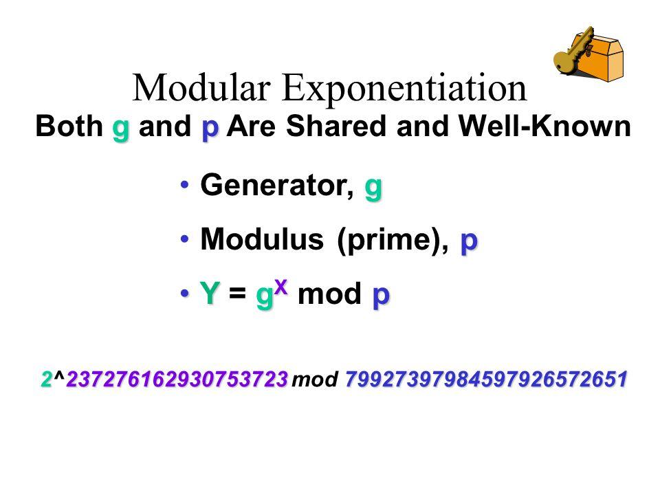 Modular Exponentiation gGenerator, g pModulus (prime), p Yg X pY = g X mod p 2237276162930753723 79927397984597926572651 2^237276162930753723 mod 7992