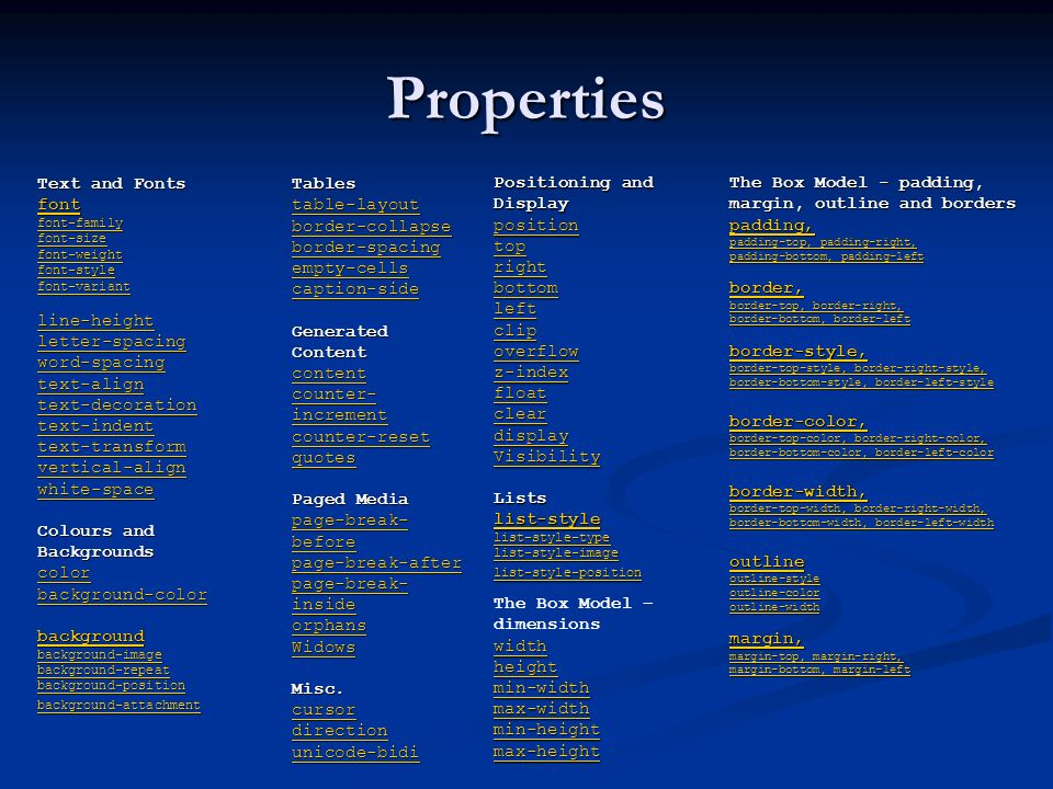 Properties Text and Fonts font font-family font-size font-weight font-style font-variant line-height letter-spacing word-spacing text-align text-decor