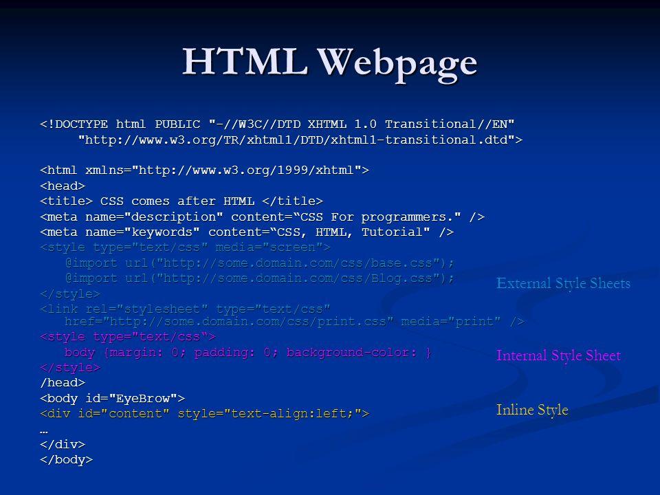 HTML Webpage <!DOCTYPE html PUBLIC