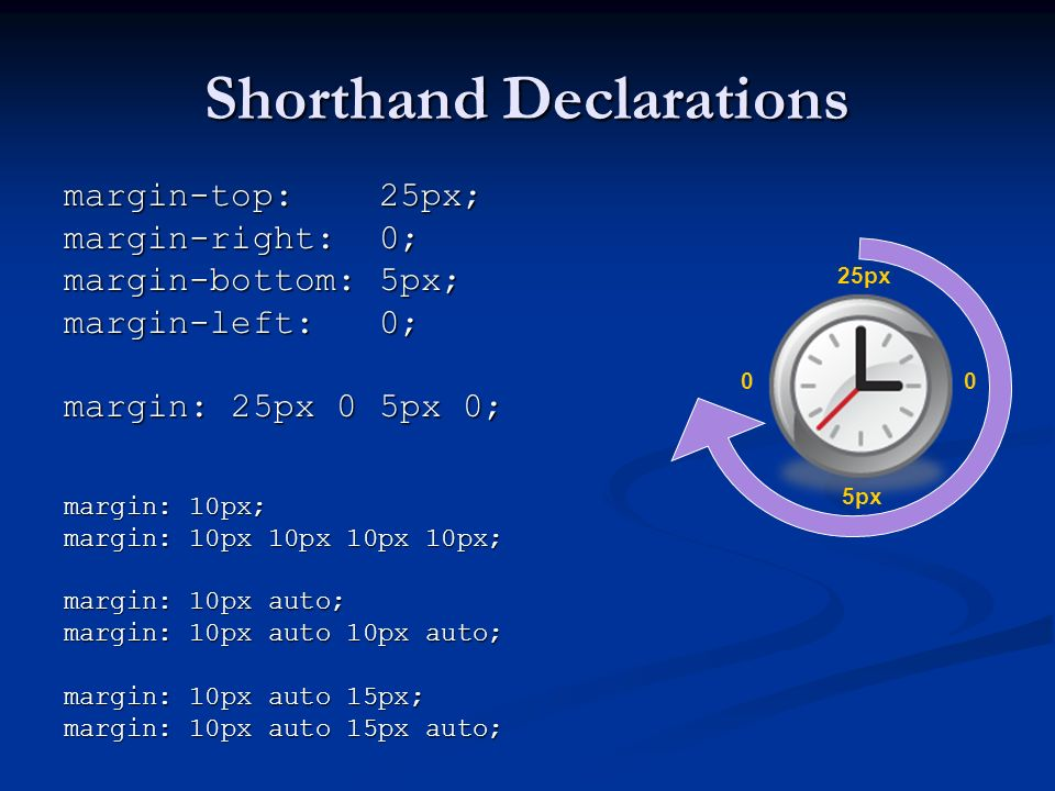 Shorthand Declarations margin-top: 25px; margin-right: 0; margin-bottom: 5px; margin-left: 0; margin: 25px 0 5px 0; margin: 10px; margin: 10px 10px 10