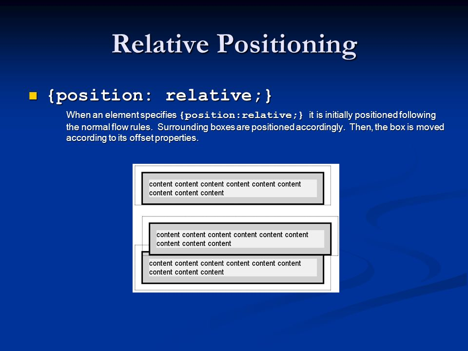Relative Positioning {position: relative;} {position: relative;} When an element specifies {position:relative;} it is initially positioned following t