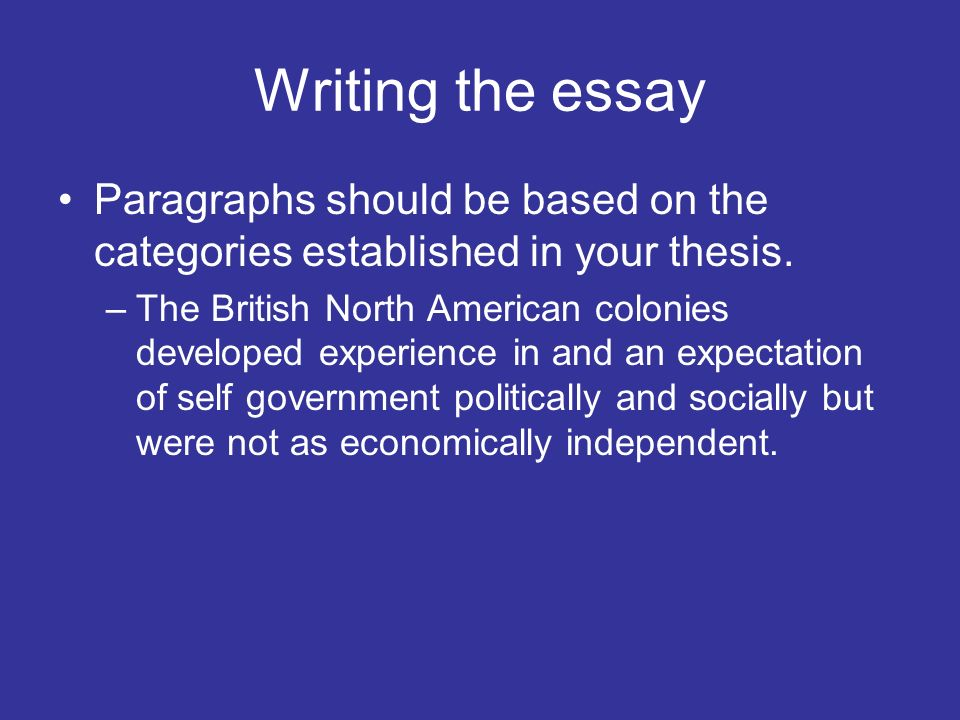 Writing the essay Paragraphs should be based on the categories established in your thesis. –The British North American colonies developed experience i