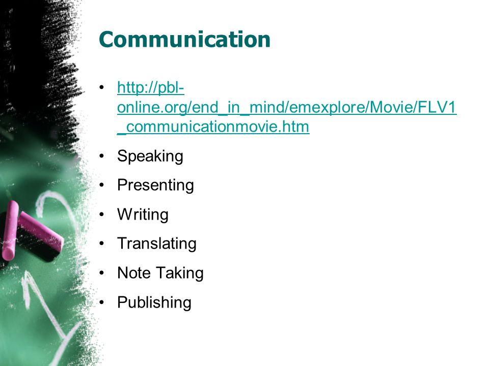 Communication http://pbl- online.org/end_in_mind/emexplore/Movie/FLV1 _communicationmovie.htmhttp://pbl- online.org/end_in_mind/emexplore/Movie/FLV1 _