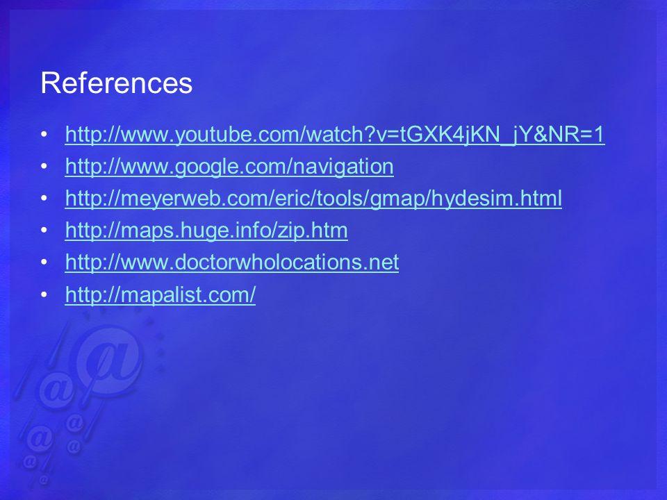 References http://www.youtube.com/watch v=tGXK4jKN_jY&NR=1 http://www.google.com/navigation http://meyerweb.com/eric/tools/gmap/hydesim.html http://maps.huge.info/zip.htm http://www.doctorwholocations.net http://mapalist.com/