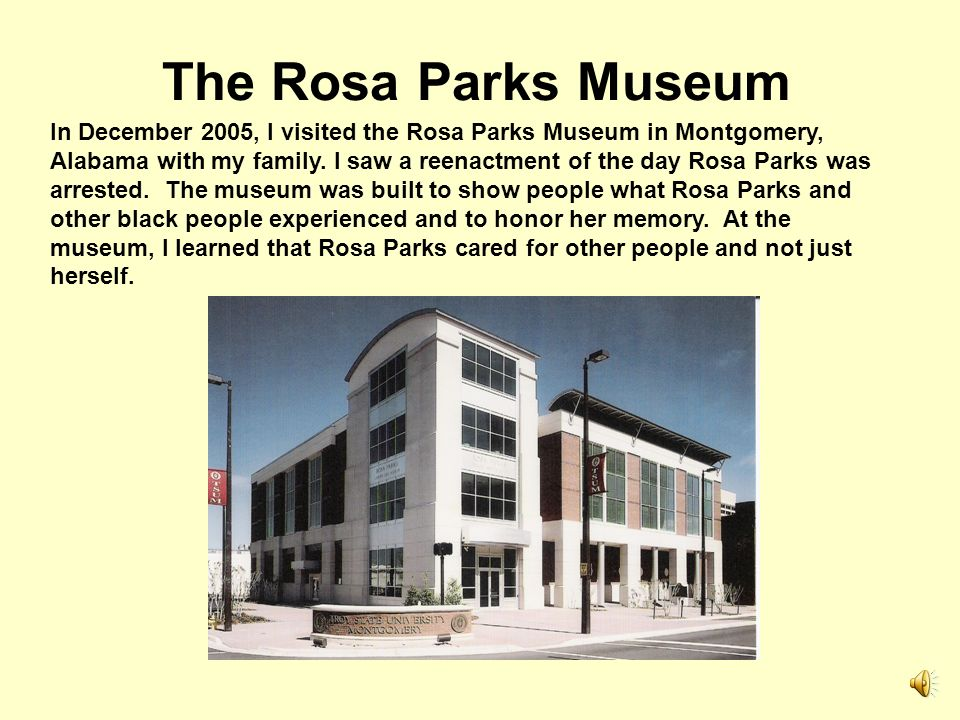 Bus Boycott of Montgomery, Alabama Rosa Parks decision not to give up her seat on the bus and her arrest caused all black people in Montgomery to refu