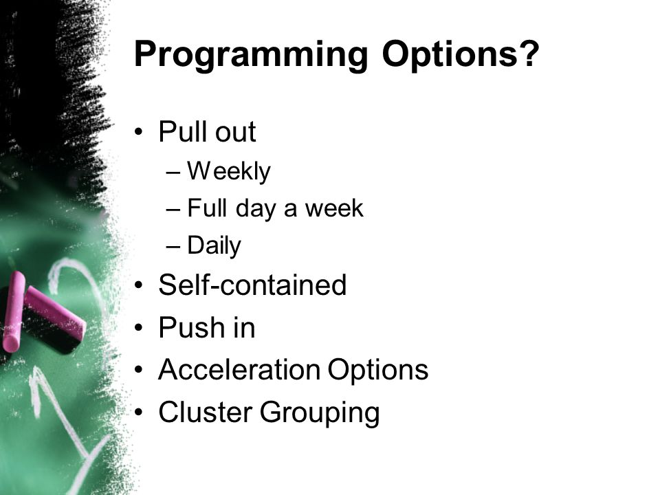 Programming Options.