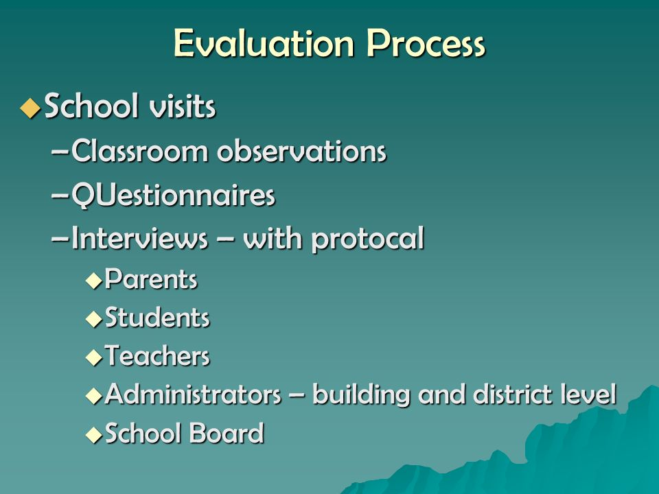 Evaluation Process School visits School visits –Classroom observations –QUestionnaires –Interviews – with protocal Parents Parents Students Students Teachers Teachers Administrators – building and district level Administrators – building and district level School Board School Board