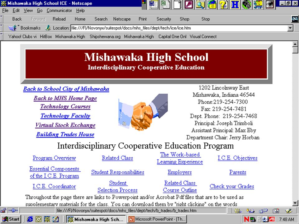 The Internet @ MHS ICE From the Home Page Click on Departments Click on Technology Courses Click on ICE