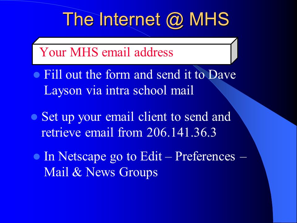 The Internet @ MHS Make your grades available on line Go to the Gradebook window, click Window, click The Web ePublisher, click grouped home page documents Follow the directions on the screen Save the file to a floppy disk and put it in my mail box.