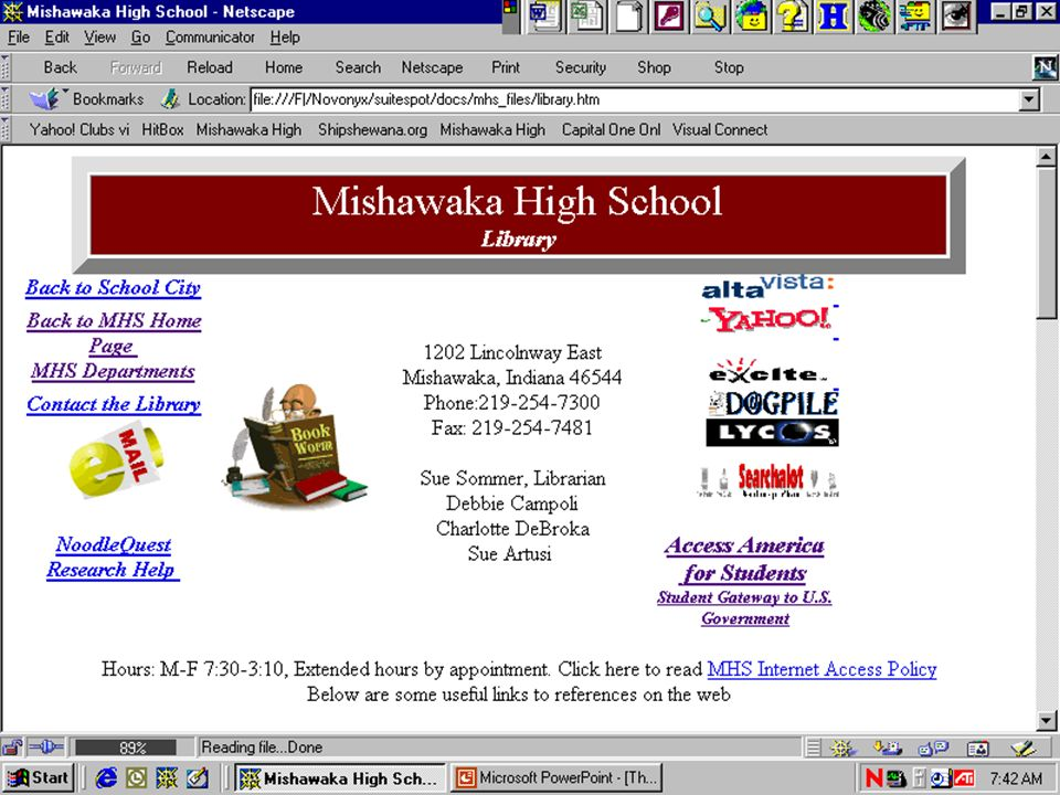 The Internet @ MHS Search Engines Access America The Library Page