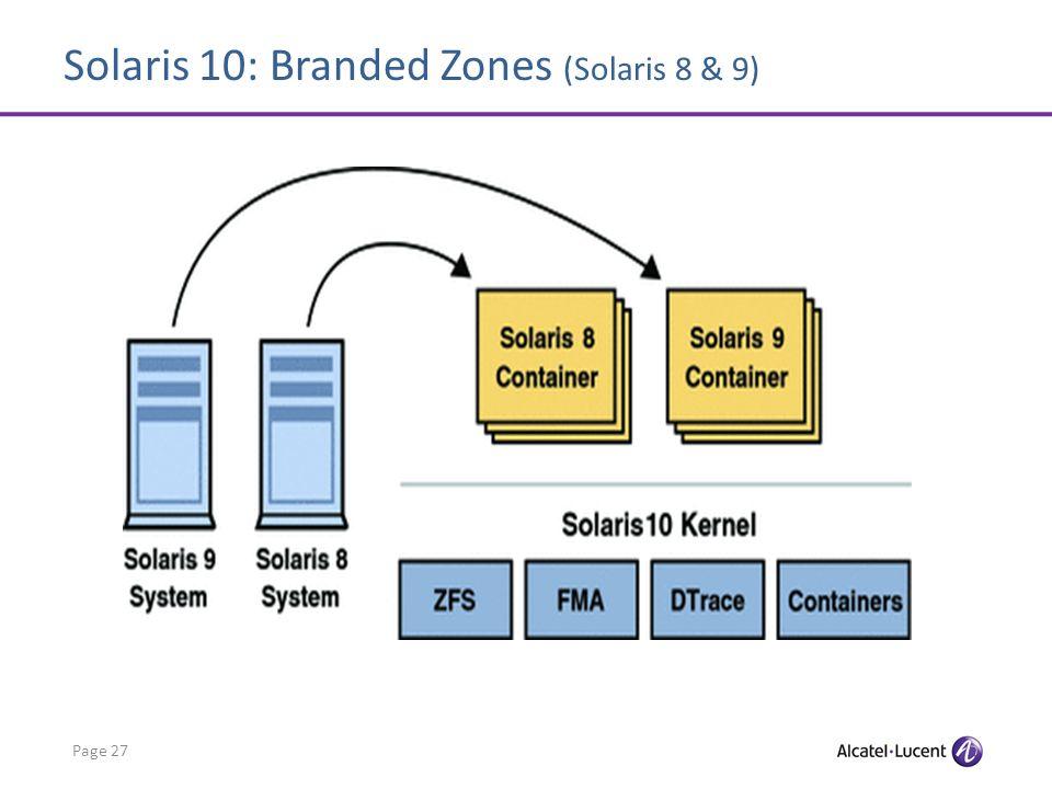 Solaris 10: Branded Zones (Solaris 8 & 9) Page 27