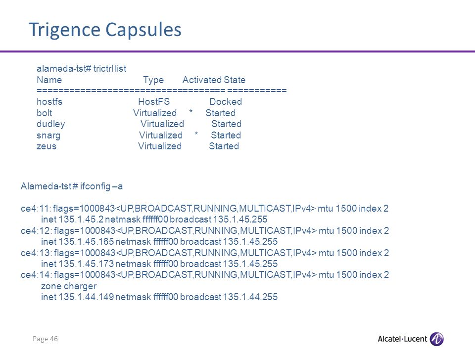 Trigence Capsules Page 46 alameda-tst# trictrl list Name Type Activated State =================================== =========== hostfs HostFS Docked bol