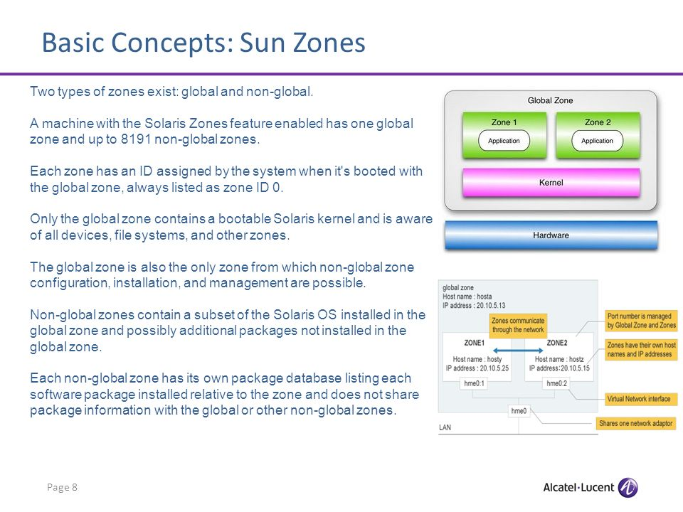 Basic Concepts: Sun Zones Page 8 Two types of zones exist: global and non-global.