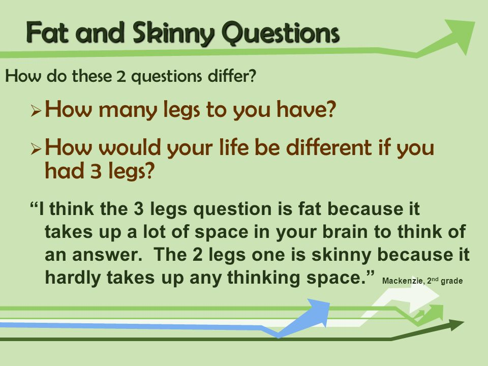 Fat and Skinny Questions How do these 2 questions differ? How many legs to you have? How would your life be different if you had 3 legs? I think the 3