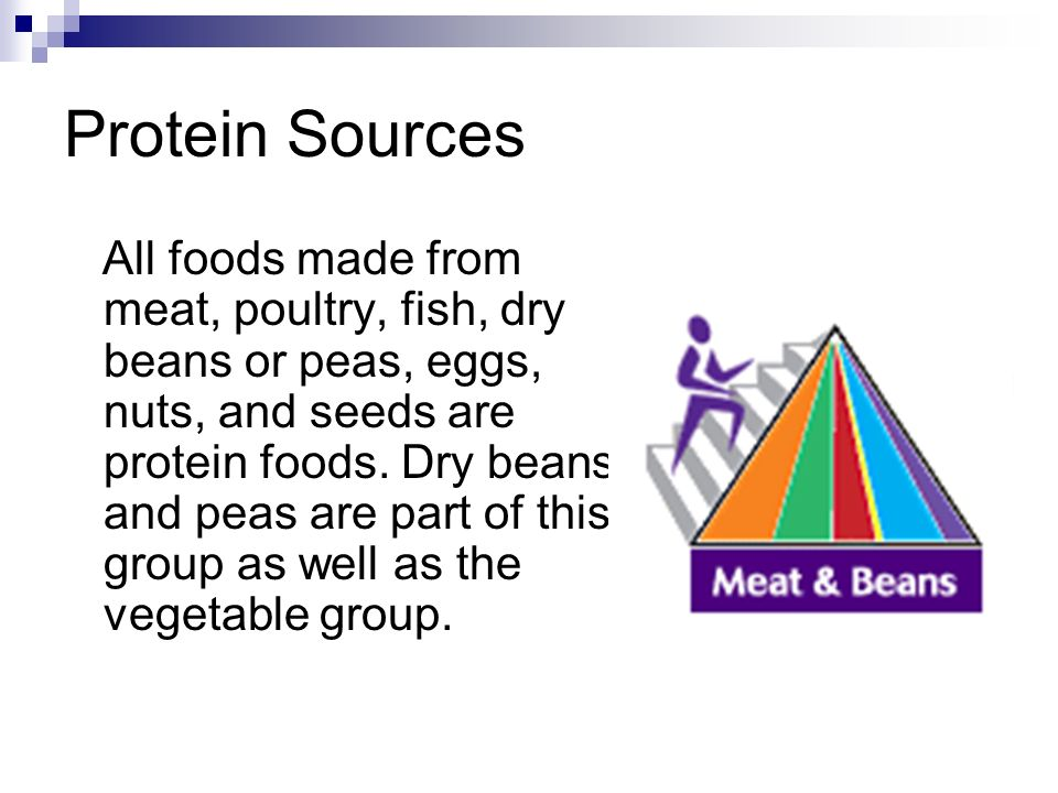 Protein Sources All foods made from meat, poultry, fish, dry beans or peas, eggs, nuts, and seeds are protein foods. Dry beans and peas are part of th