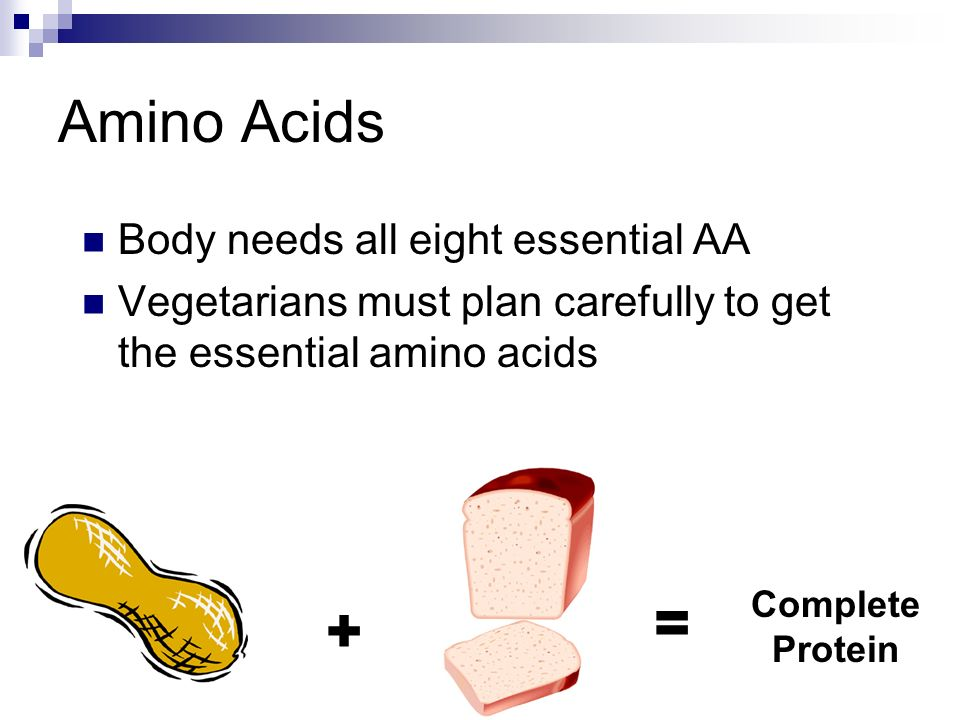 Amino Acids Body needs all eight essential AA Vegetarians must plan carefully to get the essential amino acids + = Complete Protein