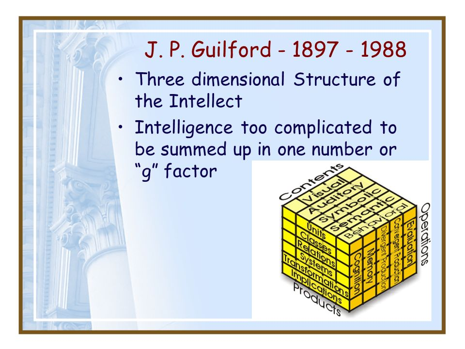J. P. Guilford - 1897 - 1988 Three dimensional Structure of the Intellect Intelligence too complicated to be summed up in one number or g factor