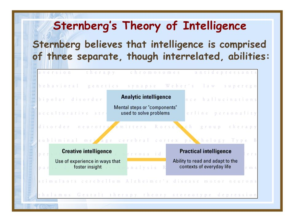 Sternbergs Theory of Intelligence Sternberg believes that intelligence is comprised of three separate, though interrelated, abilities: