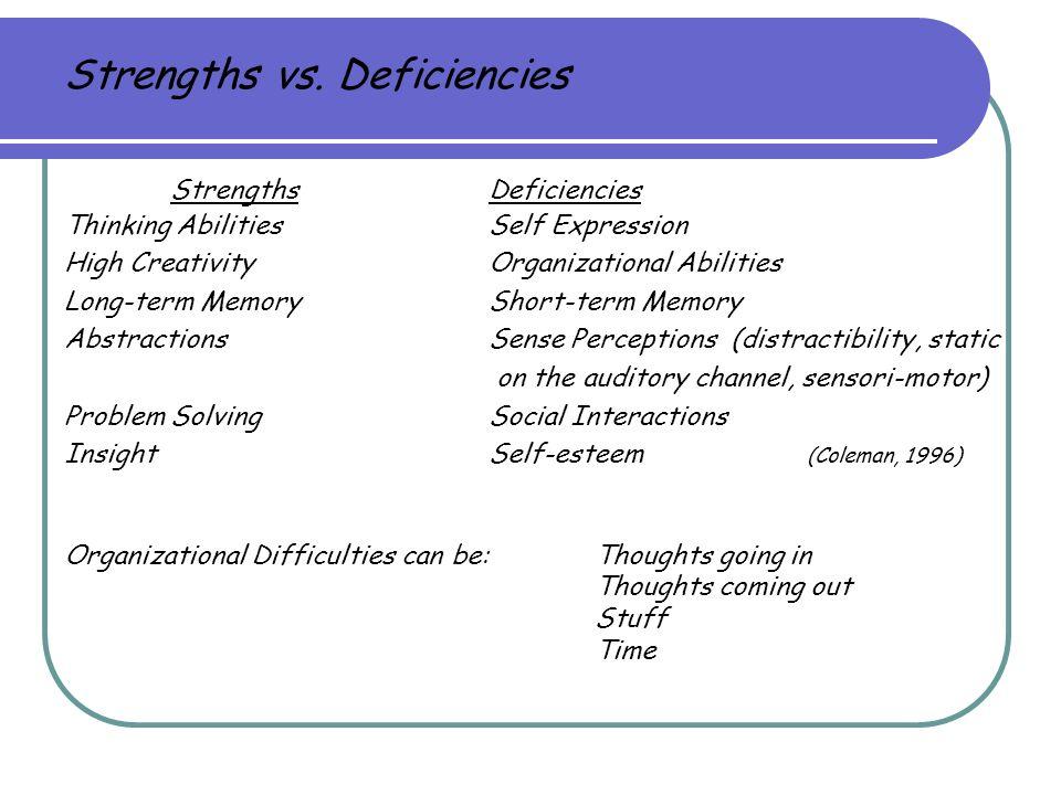 Strengths vs. Deficiencies StrengthsDeficiencies Thinking AbilitiesSelf Expression High CreativityOrganizational Abilities Long-term MemoryShort-term