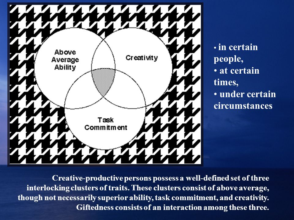 Creative-productive persons possess a well-defined set of three interlocking clusters of traits. These clusters consist of above average, though not n