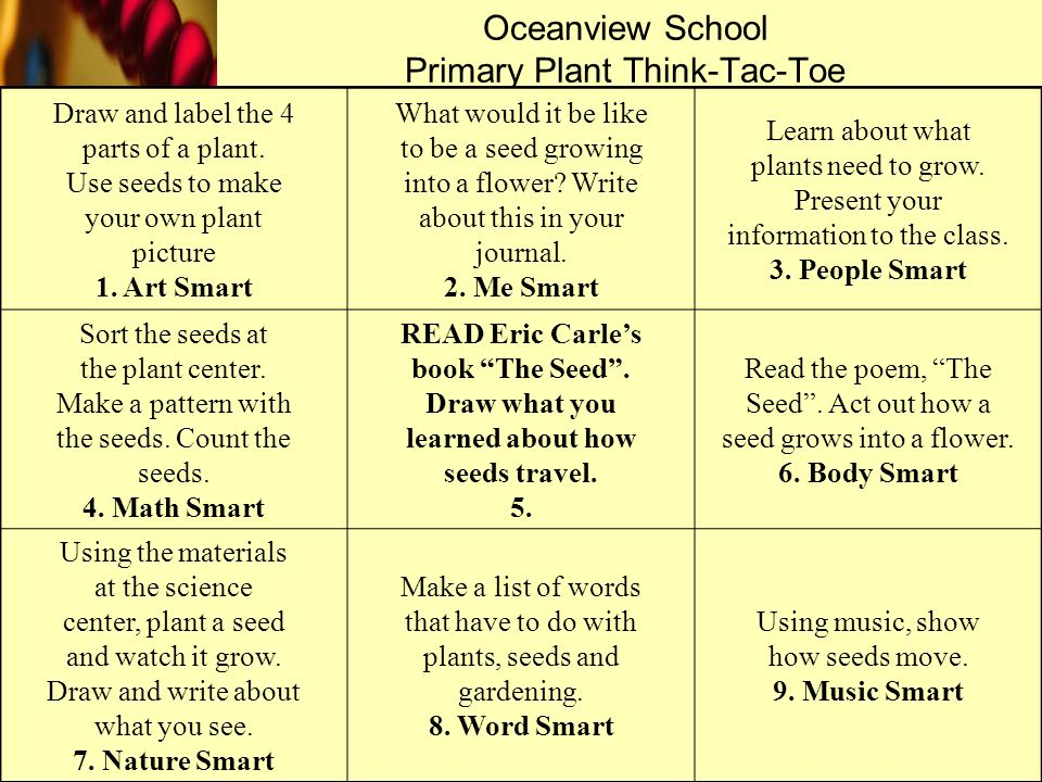 Oceanview School Primary Plant Think-Tac-Toe Draw and label the 4 parts of a plant. Use seeds to make your own plant picture 1. Art Smart What would i