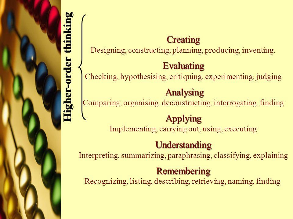 Creating Evaluating Analysing Applying Understanding Remembering Creating Designing, constructing, planning, producing, inventing. Evaluating Checking