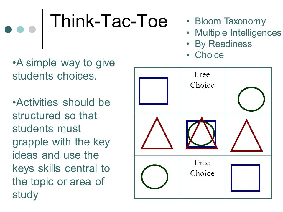 Think-Tac-Toe Free Choice Free Choice A simple way to give students choices. Activities should be structured so that students must grapple with the ke