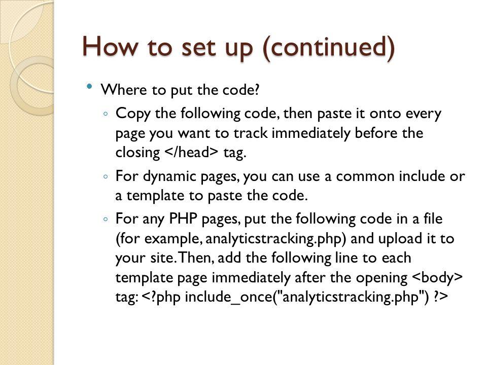 Where to put the code.