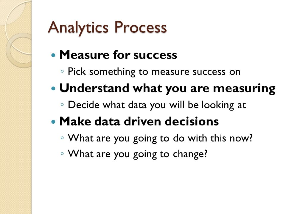 Analytics Process Measure for success Pick something to measure success on Understand what you are measuring Decide what data you will be looking at M
