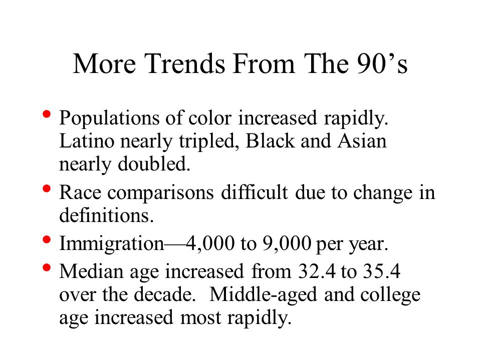 More Trends From The 90s Populations of color increased rapidly.