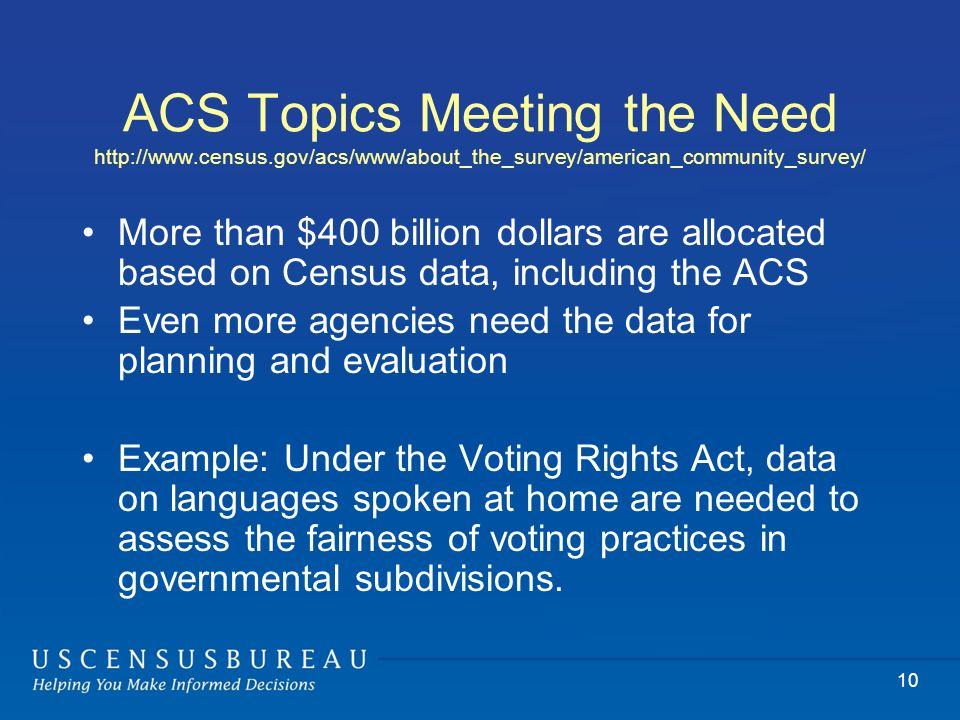 ACS Topics Meeting the Need http://www.census.gov/acs/www/about_the_survey/american_community_survey/ More than $400 billion dollars are allocated based on Census data, including the ACS Even more agencies need the data for planning and evaluation Example: Under the Voting Rights Act, data on languages spoken at home are needed to assess the fairness of voting practices in governmental subdivisions.