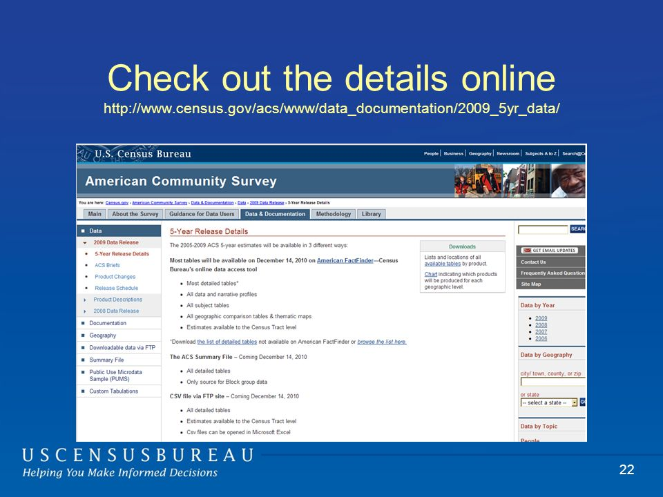 Check out the details online http://www.census.gov/acs/www/data_documentation/2009_5yr_data/ 22