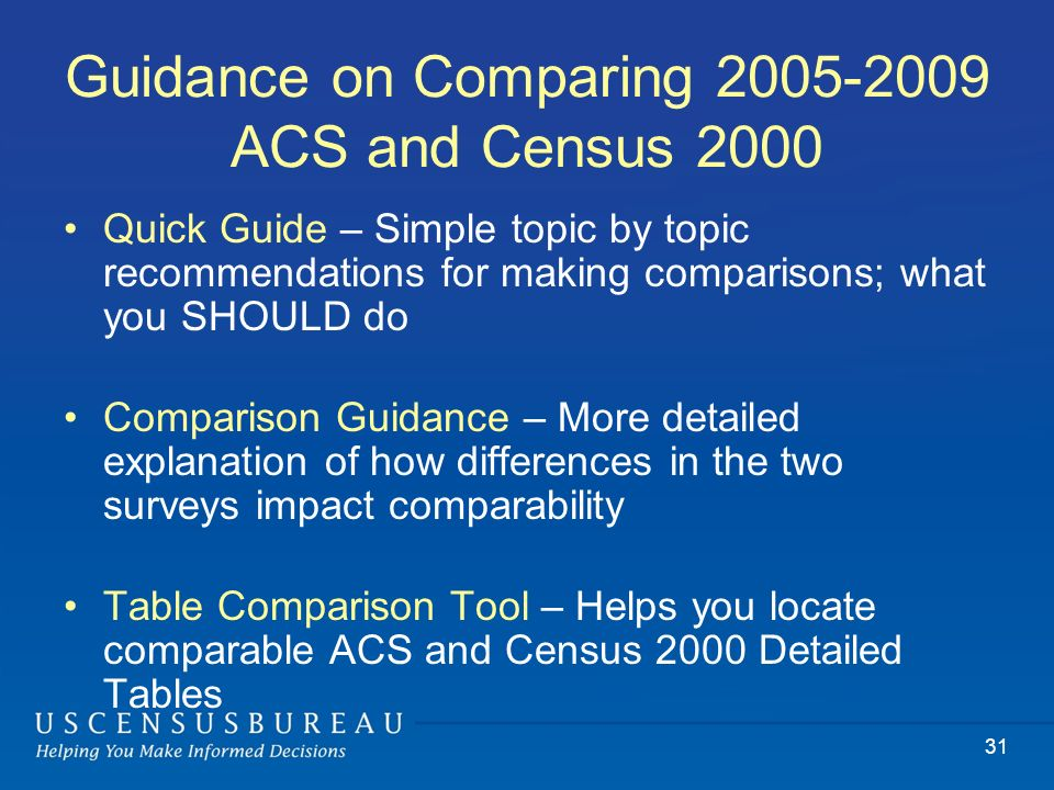 31 Guidance on Comparing 2005-2009 ACS and Census 2000 Quick Guide – Simple topic by topic recommendations for making comparisons; what you SHOULD do Comparison Guidance – More detailed explanation of how differences in the two surveys impact comparability Table Comparison Tool – Helps you locate comparable ACS and Census 2000 Detailed Tables
