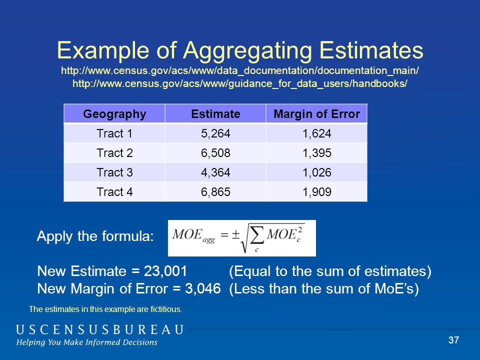 Example of Aggregating Estimates http://www.census.gov/acs/www/data_documentation/documentation_main/ http://www.census.gov/acs/www/guidance_for_data_users/handbooks/ 37 GeographyEstimateMargin of Error Tract 15,2641,624 Tract 26,5081,395 Tract 34,3641,026 Tract 46,8651,909 Apply the formula: New Estimate = 23,001 (Equal to the sum of estimates) New Margin of Error = 3,046 (Less than the sum of MoEs) The estimates in this example are fictitious.