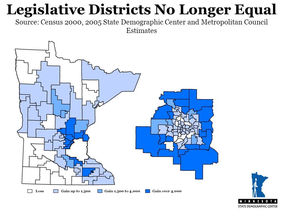 Legislative Districts No Longer Equal Source: Census 2000, 2005 State Demographic Center and Metropolitan Council Estimates