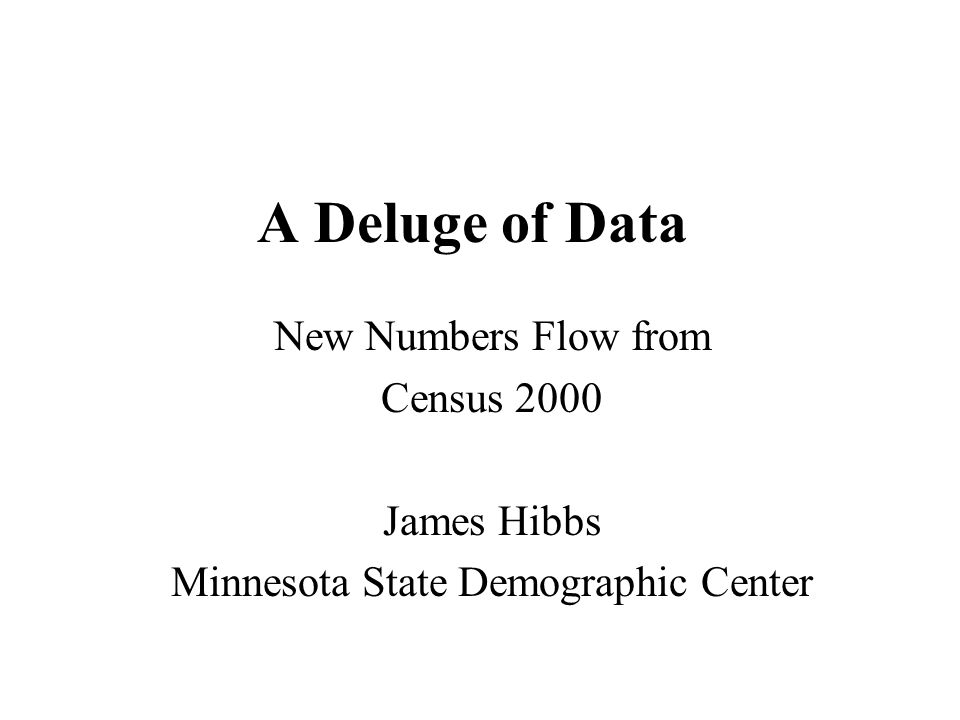 A Deluge of Data New Numbers Flow from Census 2000 James Hibbs Minnesota State Demographic Center