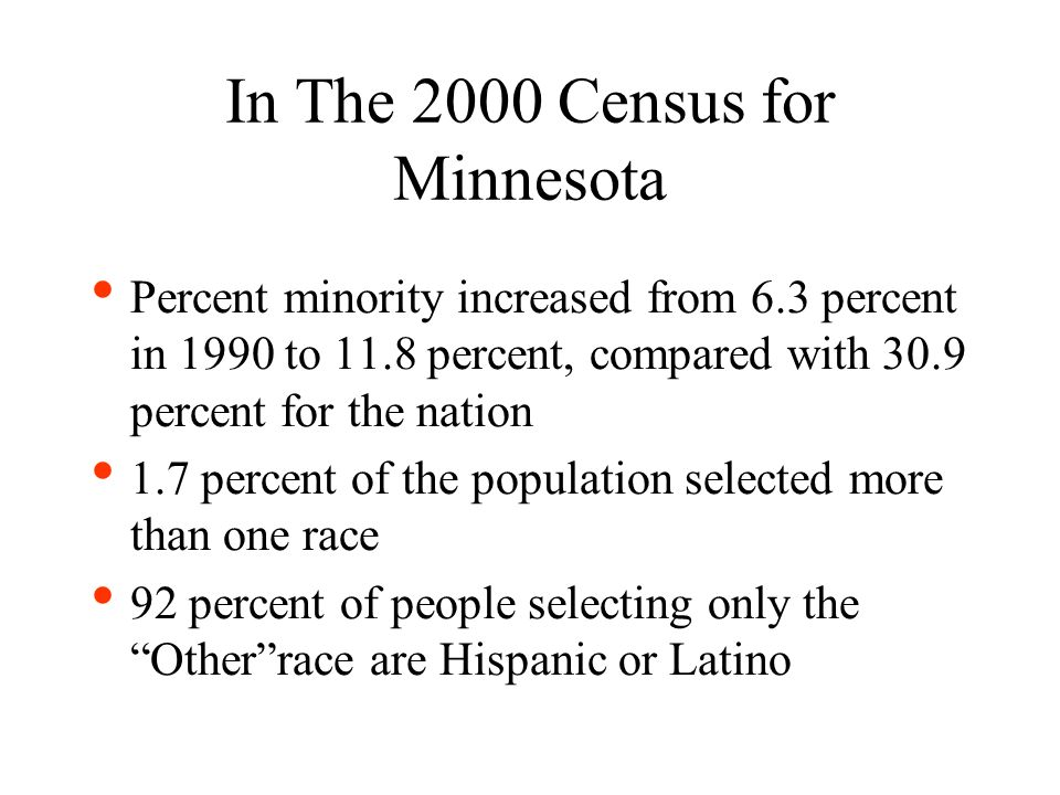 In The 2000 Census for Minnesota Percent minority increased from 6.3 percent in 1990 to 11.8 percent, compared with 30.9 percent for the nation 1.7 percent of the population selected more than one race 92 percent of people selecting only the Otherrace are Hispanic or Latino