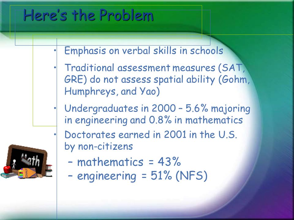 Heres the Problem Emphasis on verbal skills in schools Traditional assessment measures (SAT, GRE) do not assess spatial ability (Gohm, Humphreys, and