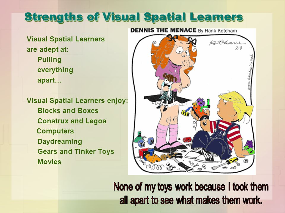 Strengths of Visual Spatial Learners Visual Spatial Learners are adept at: Pulling everything apart… Visual Spatial Learners enjoy: Blocks and Boxes Construx and Legos Computers Daydreaming Gears and Tinker Toys Movies