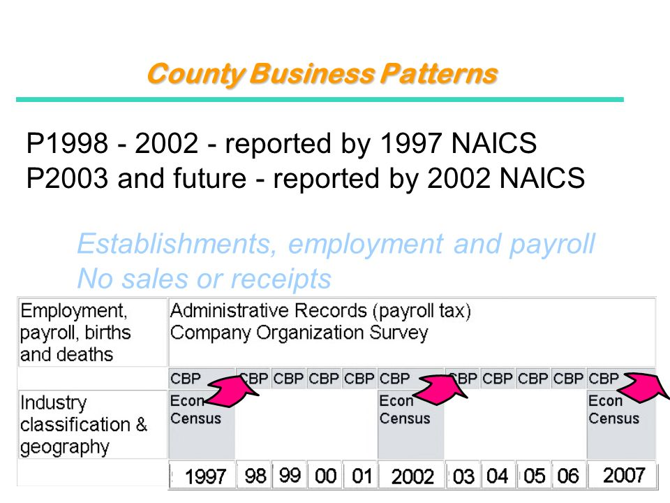 County Business Patterns P1998 - 2002 - reported by 1997 NAICS P2003 and future - reported by 2002 NAICS Establishments, employment and payroll No sales or receipts