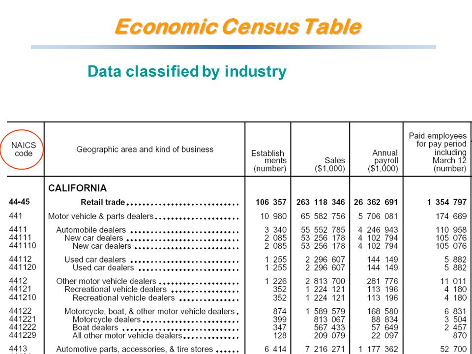 Economic Census Table Data classified by industry