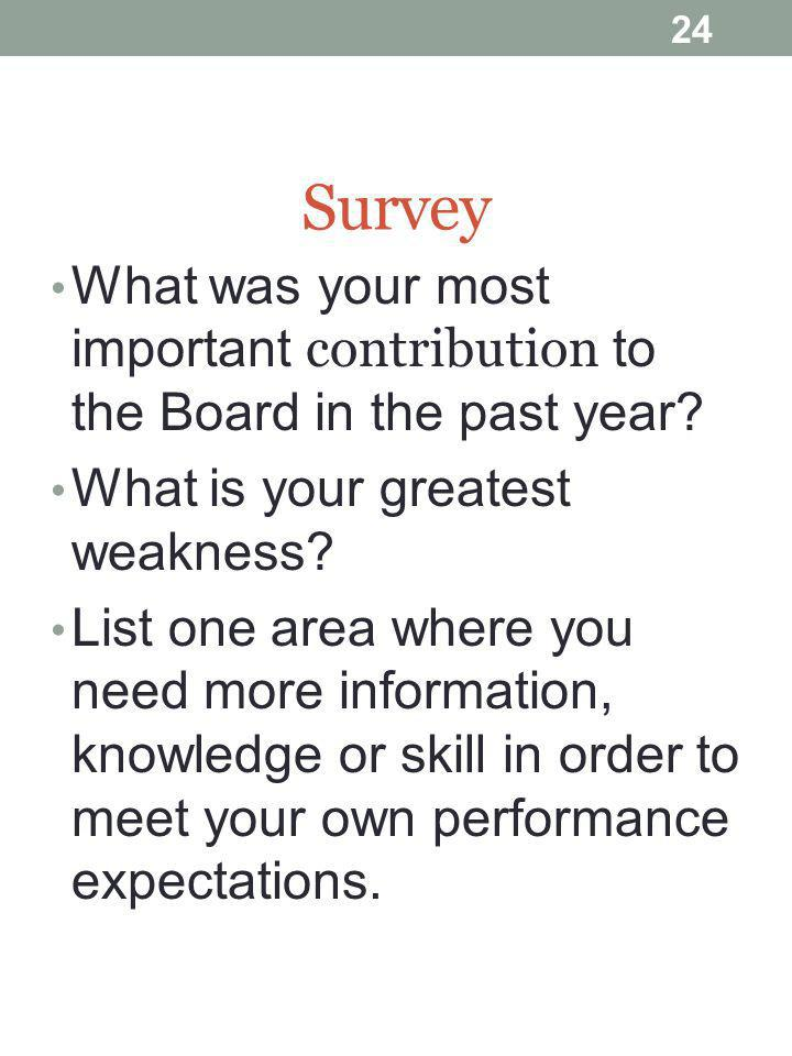 24 Survey What was your most important contribution to the Board in the past year.