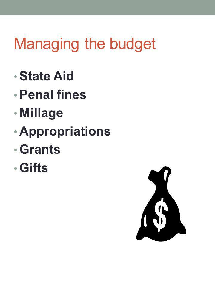 Managing the budget State Aid Penal fines Millage Appropriations Grants Gifts