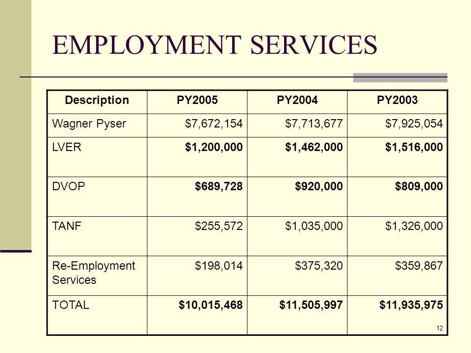 12 EMPLOYMENT SERVICES DescriptionPY2005PY2004PY2003 Wagner Pyser$7,672,154$7,713,677$7,925,054 LVER$1,200,000$1,462,000$1,516,000 DVOP$689,728$920,000$809,000 TANF$255,572$1,035,000$1,326,000 Re-Employment Services $198,014$375,320$359,867 TOTAL$10,015,468$11,505,997$11,935,975
