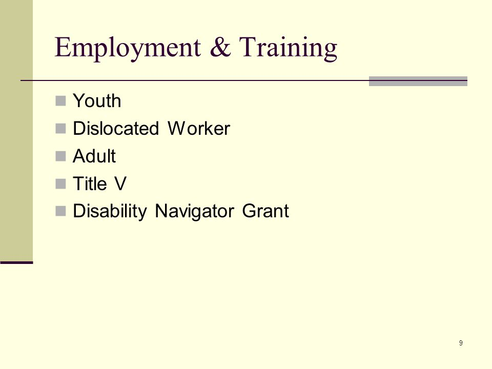 9 Employment & Training Youth Dislocated Worker Adult Title V Disability Navigator Grant