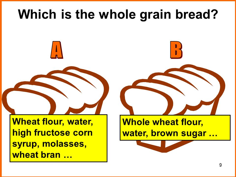 9 Which is the whole grain bread.