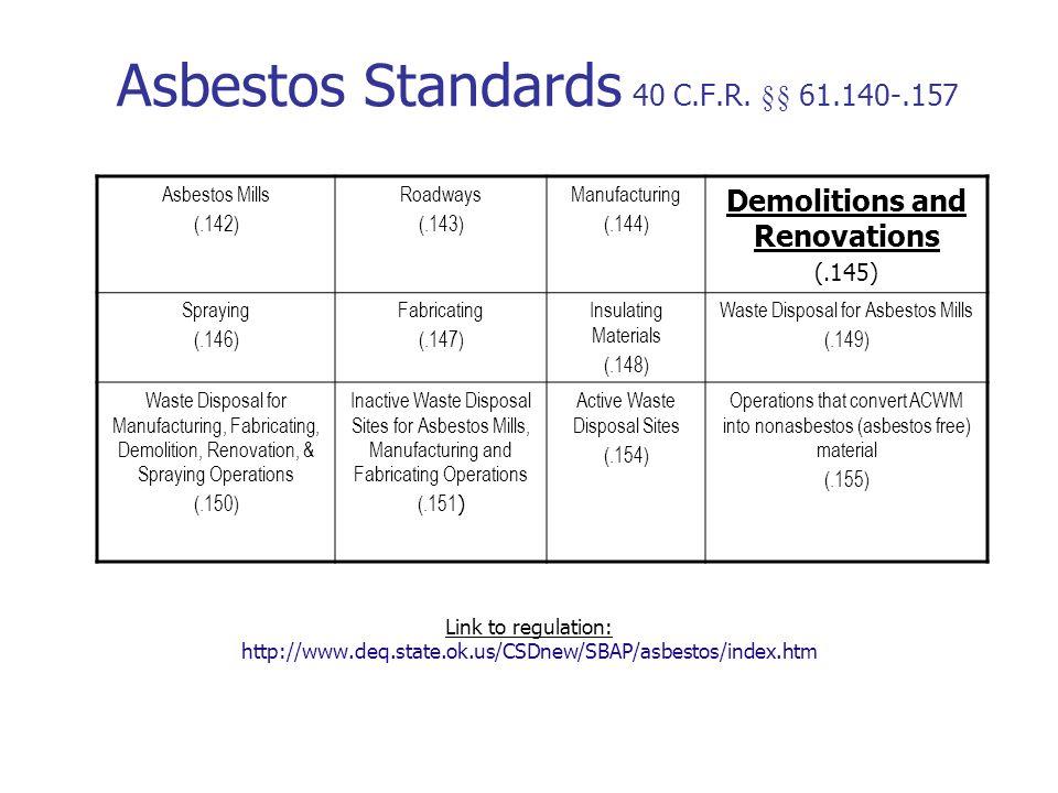 Asbestos Standards 40 C.F.R.